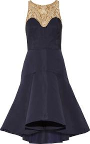 Marchesa Notte , Embroidered Tulle And Pleated Crepe Gown Navy
