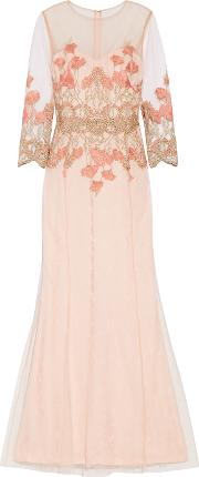 Marchesa Notte , Embroidered Tulle Gown Blush