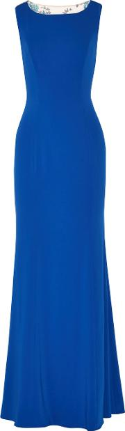 Marchesa Notte , Embroidered Tulle Paneled Crepe Gown Cobalt Blue