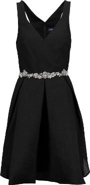 Marchesa Notte , Pleated Crepe And Silk Blend Cloque Mini Dress Black