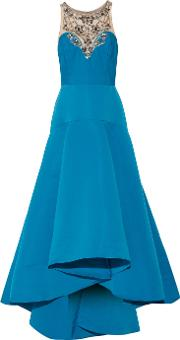 Marchesa Notte , Pleated Embellished Tulle And Faille Gown Teal