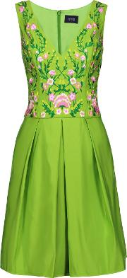 Marchesa Notte , Pleated Embroidered Faille Dress Bright Green