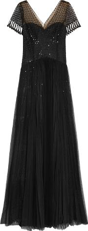 Marchesa Notte , Sequined Crocheted Lace And Tulle Gown Black
