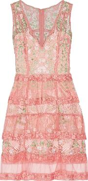 Marchesa Notte , Tiered Guipure Lace And Tulle Dress Antique Rose