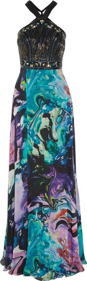 Matthew Williamson , Embellished Printed Silk Chiffon Gown Multi