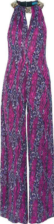 Matthew Williamson , Embellished Printed Silk Georgette Jumpsuit Magenta