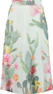 Matthew Williamson , Floral Print Silk Crepe Midi Skirt Mint
