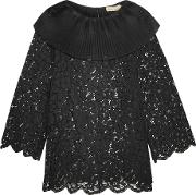 Merchant Archive , Pleated Silk Organza Trimmed Corded Lace Top Black