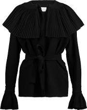 Merchant Archive , Pleated Wool Crepe Top Black