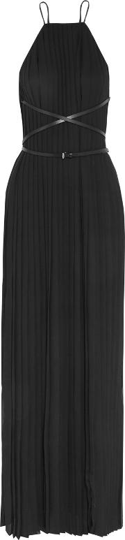 Michael Kors Collection , Belted Plisse Chiffon Gown Black