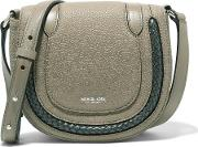 Michael Kors Collection , Braided Textured Leather Shoulder Bag Mushroom