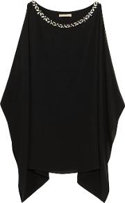 Michael Kors Collection , Crystal Embellished Silk Crepe Top Black