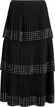 Michael Kors Collection , Eyelet Embellished Pleated Crepe Midi Skirt Black