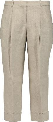 Michael Kors Collection , Pleated Linen Culottes Mushroom