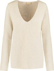 Michael Kors Collection , Ribbed Cashmere And Linen Blend Sweater Cream