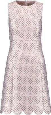 Michael Kors Collection , Scalloped Jacquard Dress White