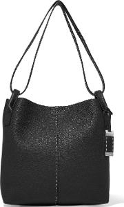 Michael Kors Collection , Textured Leather Shoulder Bag Black