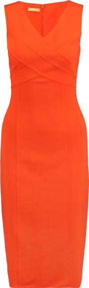 Michael Kors Collection , Wool Crepe Midi Dress Orange