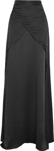 Michael Lo Sordo , Silk Satin Maxi Skirt Black