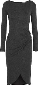 Ruched Jersey Dress Charcoal