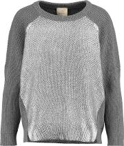 Michelle Mason , Foiled Cotton And Cashmere Blend Sweater Gray