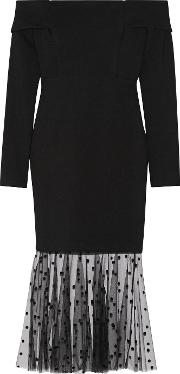 Michelle Mason , Off The Shoulder Flocked Tulle Paneled Stretch Jersey Dress Black
