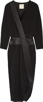 Michelle Mason , Wrap Effect Satin Trimmed Silk Crepe De Chine Midi Dress Black