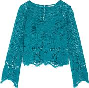 Miguelina , Alicia Cropped Crocheted Cotton Top Teal
