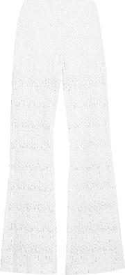 Miguelina , Kai Cotton Guipure Lace Flared Pants White