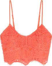 Miguelina , Zoe Crocheted Cotton Bra Top Bright Orange