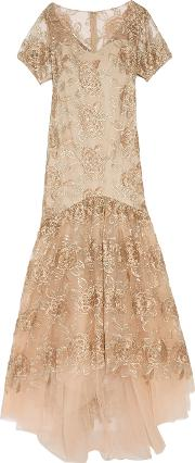 Mikael Aghal , Embroidered Tulle Gown Beige