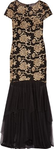 Mikael Aghal , Embroidered Tulle Gown Black