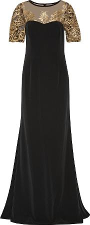 Mikael Aghal , Embroidered Tulle Paneled Cady Gown Black