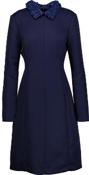 Mikael Aghal , Faux Leather Trimmed Crepe Dress Royal Blue