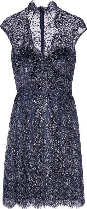 Mikael Aghal , Metallic Cotton Blend Corded Lace Dress Midnight Blue