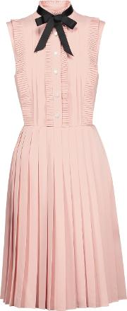 Mikael Aghal , Pussy Bow Pleated Crepe Dress Pastel Pink