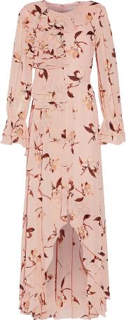 Mikael Aghal , Ruffled Floral Print Chiffon Gown Multi
