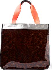 Monreal London , Hero Leather Trimmed Pvc And Coated Canvas Tote Tortoiseshell