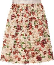 Mother Of Pearl , Emelia Fringed Printed Voile Skirt Antique Rose