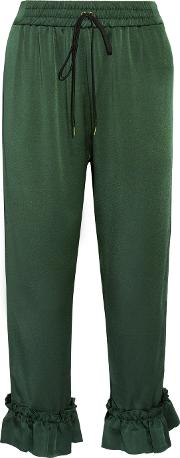 Mother Of Pearl , Finley Ruffle Trimmed Satin Straight Leg Pants Emerald