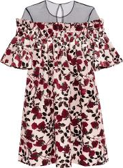 Mother Of Pearl , Nena Pleated Tulle And Floral Print Velvet Mini Dress Multi
