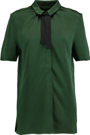 Mother Of Pearl , Valerie Bow Embellished Satin Top Emerald