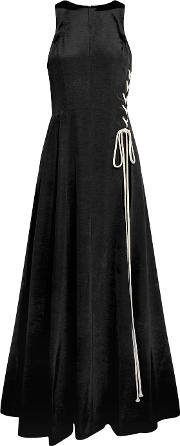 Natasha Zinko , Lace Up Cotton Blend Gown Black