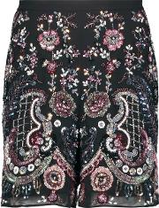 Needle & Thread , Cinder Embellished Georgette Shorts Black