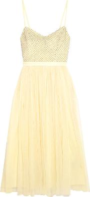 Needle & Thread , Coppelia Beaded Tulle Midi Dress Pastel Yellow