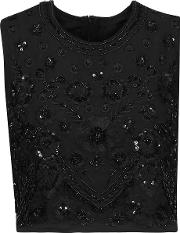 Needle & Thread , Cropped Embroidered Embellished Crepe De Chine Top Black