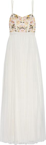 Needle & Thread , Embroidered Georgette And Tulle Maxi Dress White