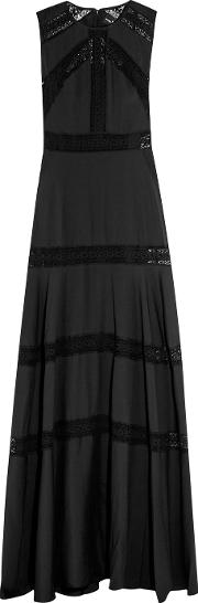 Needle & Thread , Lace Paneled Chiffon Gown Black