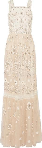 Needle & Thread , Lace Trimmed Embellished Tulle Gown Beige