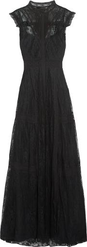 Needle & Thread , Paneled Corded Lace Gown Black